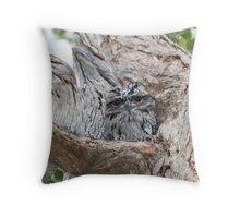 Tawny Owls, baby & parents Throw Pillow
