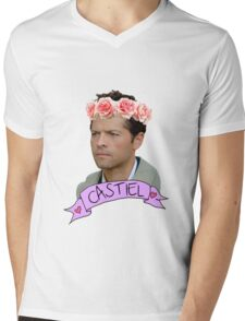 Hipster Castiel Mens V-Neck T-Shirt