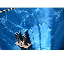 Water reflections on blue fishing boats in Fremantle harbour Photographic Print