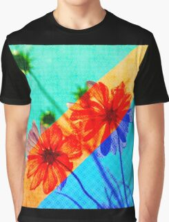 Psychedelic Collage Otherworldly Cosmos Flowers Graphic T-Shirt