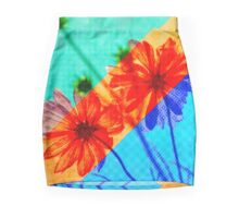 Psychedelic Collage Otherworldly Cosmos Flowers Mini Skirt