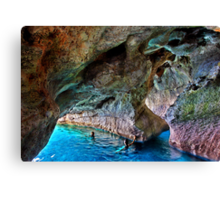 Swimming in the sea caves of Crete Canvas Print