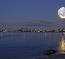 Full moon pre dawn over Sydney Harbour skyline by Gary Blackman