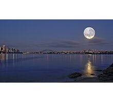 Full moon pre dawn over Sydney Harbour skyline Photographic Print