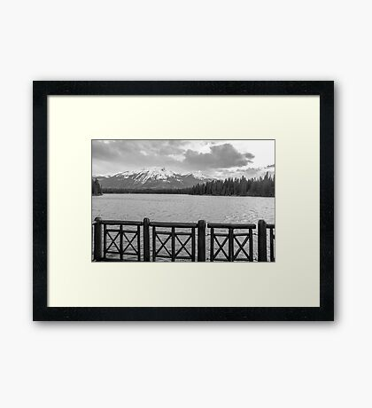 Manx Peak in front of  Majestic Mountain from Beauvert Lake Framed Print