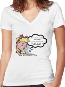 "I don't want a ""nice man"" - feminist tee Women's Fitted V-Neck T-Shirt"