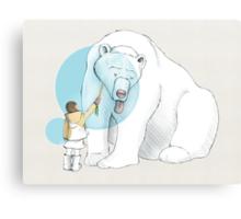 Polar bear and Girl Canvas Print