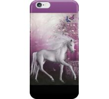 pink unicorn in a roses garden iPhone Case/Skin