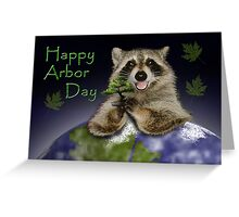 Happy Arbor Day Raccoon Greeting Card