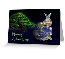 Happy Arbor Day Bunny Rabbit Greeting Card