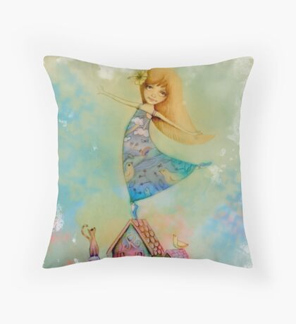dancing on rooftops Throw Pillow