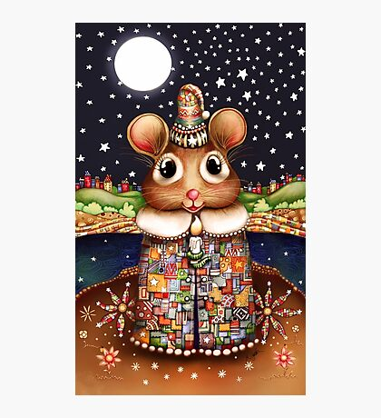 Little Bright Eyes the Radiant Christmas Mouse Photographic Print