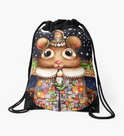 Little Bright Eyes the Radiant Christmas Mouse Drawstring Bag