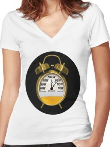 ☝ ☞ ITS NOW -TIME FOR A BEER- WITH- BEER OCLOCK TEE SHIRT ☝ ☞  Women's Fitted V-Neck T-Shirt