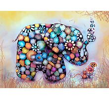 Little Sunshine the Patchwork Elephant Photographic Print