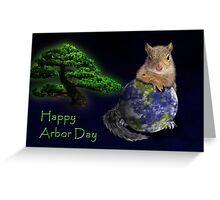 Happy Arbor Day Squirrel Greeting Card