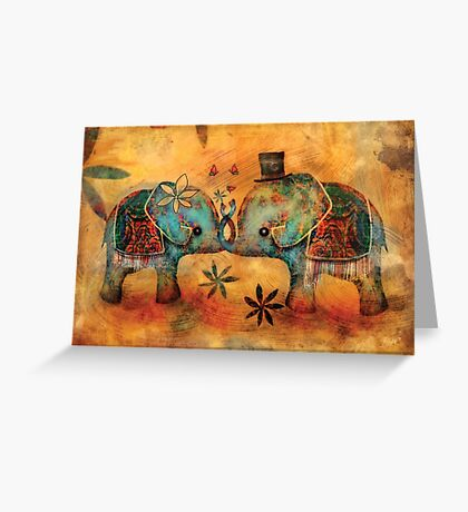 Vintage Elephants Greeting Card