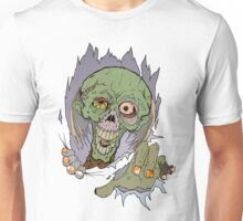 Zombie busting through Unisex T-Shirt