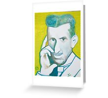 The Nikolai Tesla in green blue in oil painting! Greeting Card