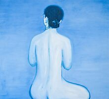 Blue Woman in oil by sivlongtaing