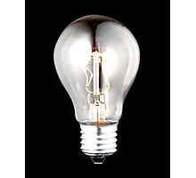 electric bulb lightened isolated on black background Photographic Print
