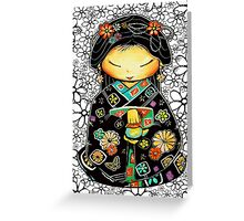 Little Multicolour Teapot Floral  Greeting Card