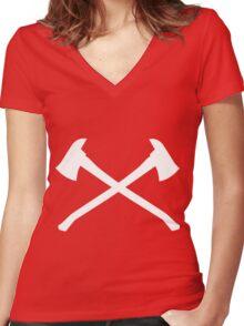 Firefighter Axe Women's Fitted V-Neck T-Shirt
