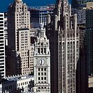 Aerial View - Wrigley Building and Tribune Tower by Adam Bykowski