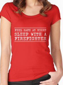 Feel safe at night sleep with the firefighter Women's Fitted Scoop T-Shirt