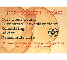 Harry Dresden Business Card Photographic Print