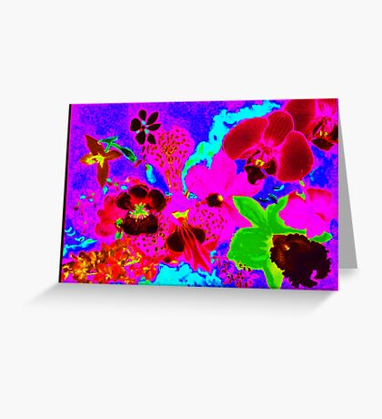 Orchid neon print Greeting Card