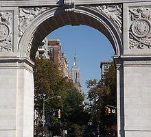 Empire State Building As Seen Through Washington Square Arch, Washington Square Park, New York City by lenspiro