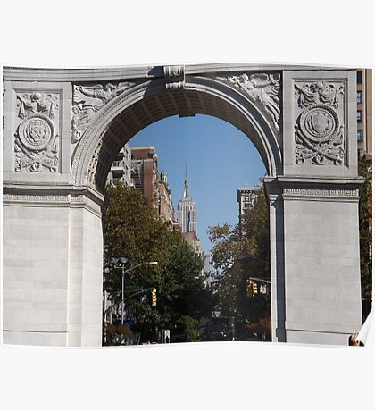 Empire State Building As Seen Through Washington Square Arch, Washington Square Park, New York City Poster