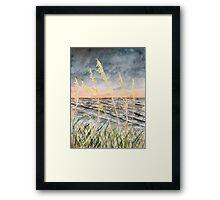 Beach at night art print Framed Print