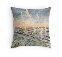 Beach at night art print Throw Pillow