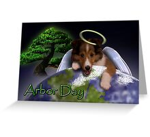 Arbor Day Angel Sheltie Greeting Card