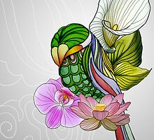 Color Flower Bird by distehling