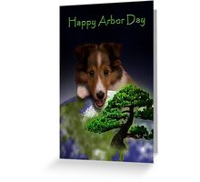Happy Arbor Day Sheltie Greeting Card