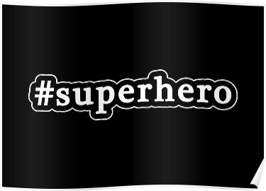 Superhero - Hashtag - Black & White by graphix