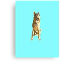Bright Cyan Puppy Canvas Print