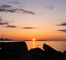 Toronto Skyline Panorama at Sunrise by Georgia Mizuleva
