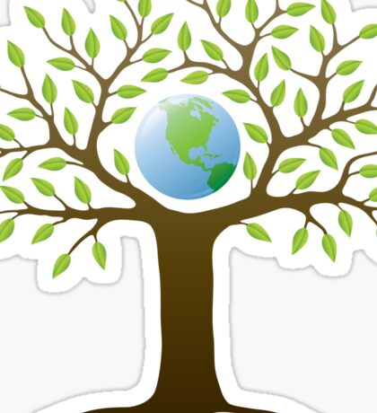 Earth tree with branches surrounding our planet Sticker