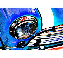 Blue Retro Mini Cooper Photographic Print