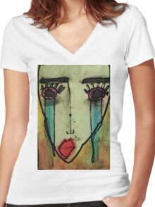 Moment notebook water colours Women's Fitted V-Neck T-Shirt
