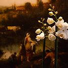 Flowers in front of a painting by jasminewang