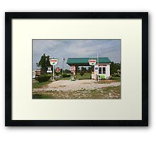 """Route 66 Gas Station with """"Sponge Painting"""" Effect Framed Print"""