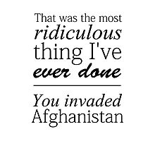 Sherlock - You Invaded Afghanistan Photographic Print
