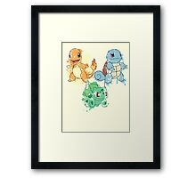 Starter Pokemon Splatter Framed Print