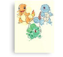 Starter Pokemon Splatter Metal Print