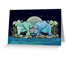 Lotus Flower Elephants Ocean Blue and Sea Green Greeting Card